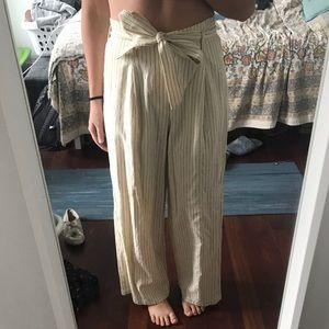 Uniqlo pinstripe pants tie waist